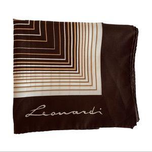 "Vtg Leonardi Geometric Square Scarf Ivory 30""x30"""